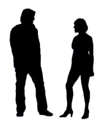 Two people in silhouette