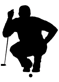 Golfer concentrating